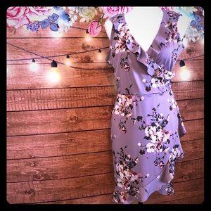 Paper doll floral faux wrap dress